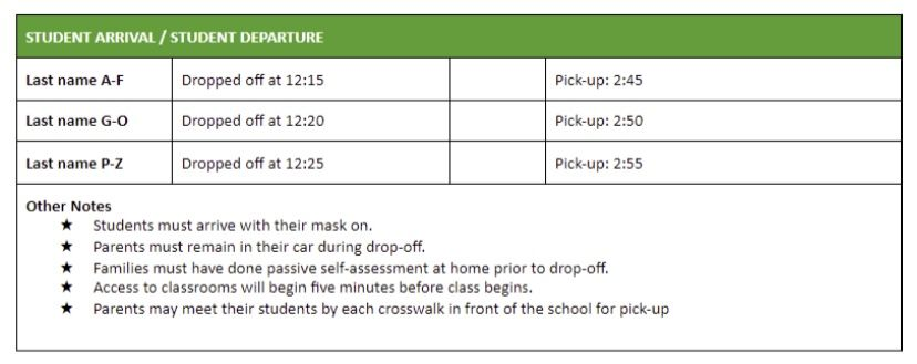pick up schedule