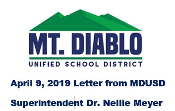 Mt. Diablo Unified April 9 2019 Letter from Superintendent Dr. Nellie Meyer