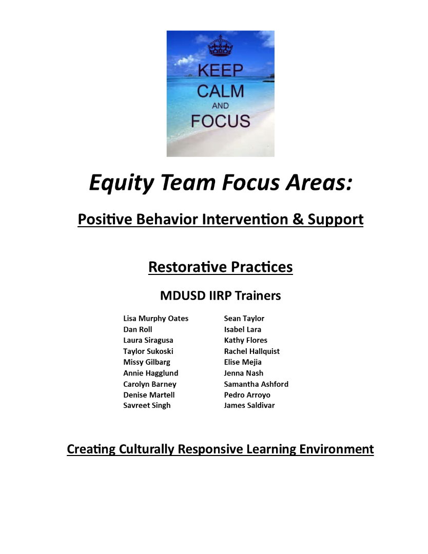 Equity Team Focus Areas