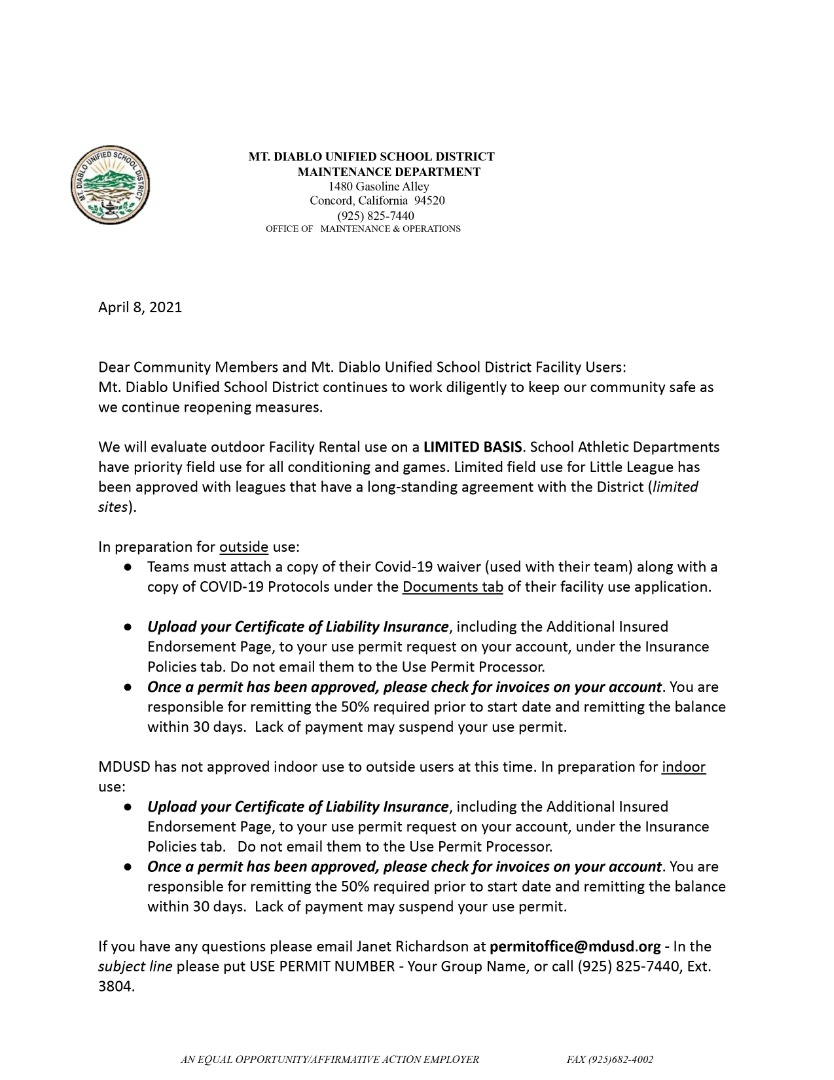 Use Permit Letter