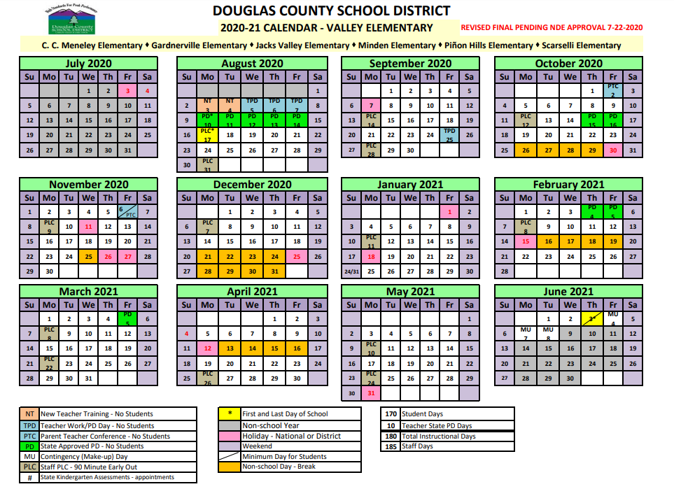 2020-2021 Valley Elementary School Calendar