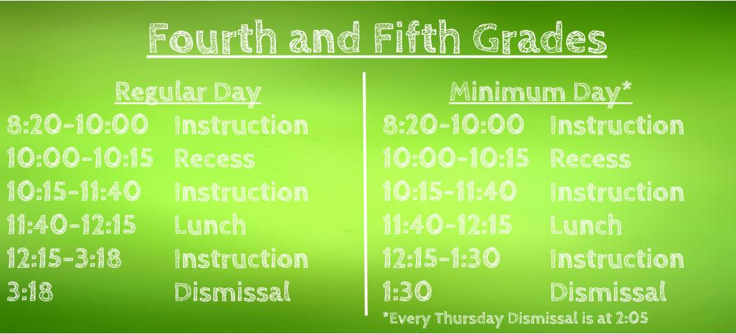 Daily Schedule 4th & Fifth