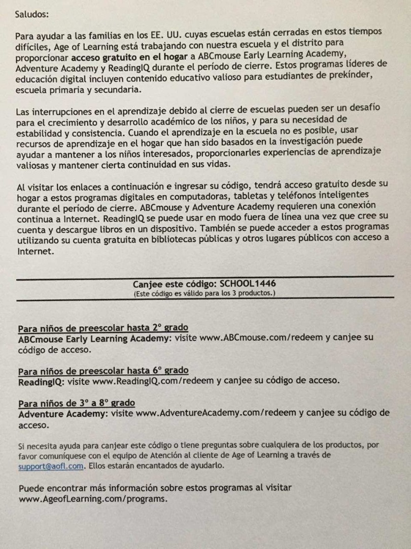 Spanish Access Code Instructions