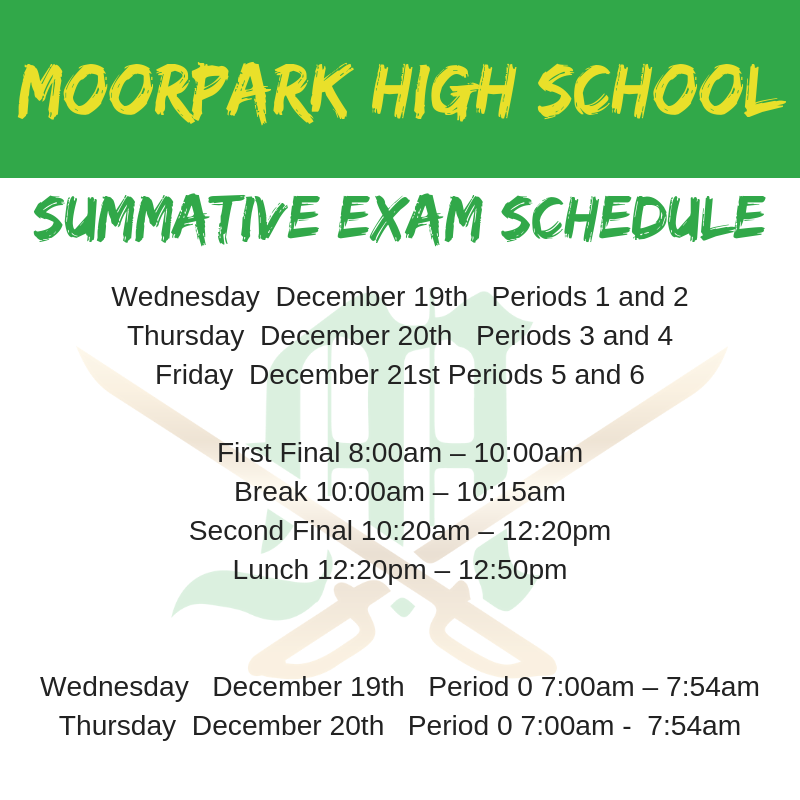 Summative Exam Schedule