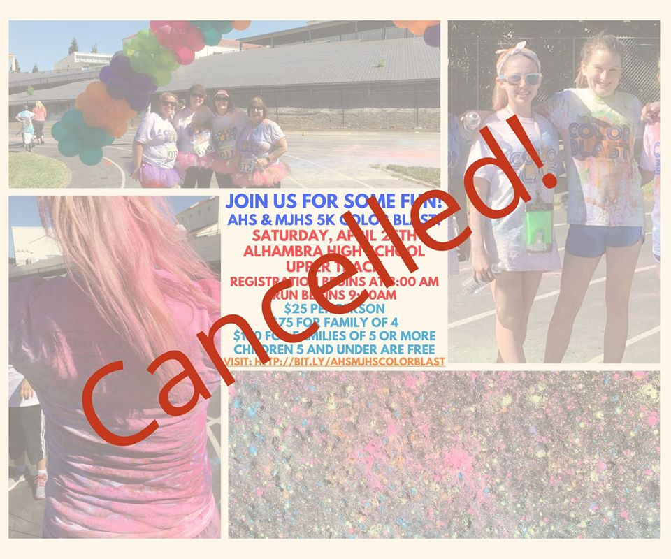 AHS & MJHS Color Blast Run is Cancelled