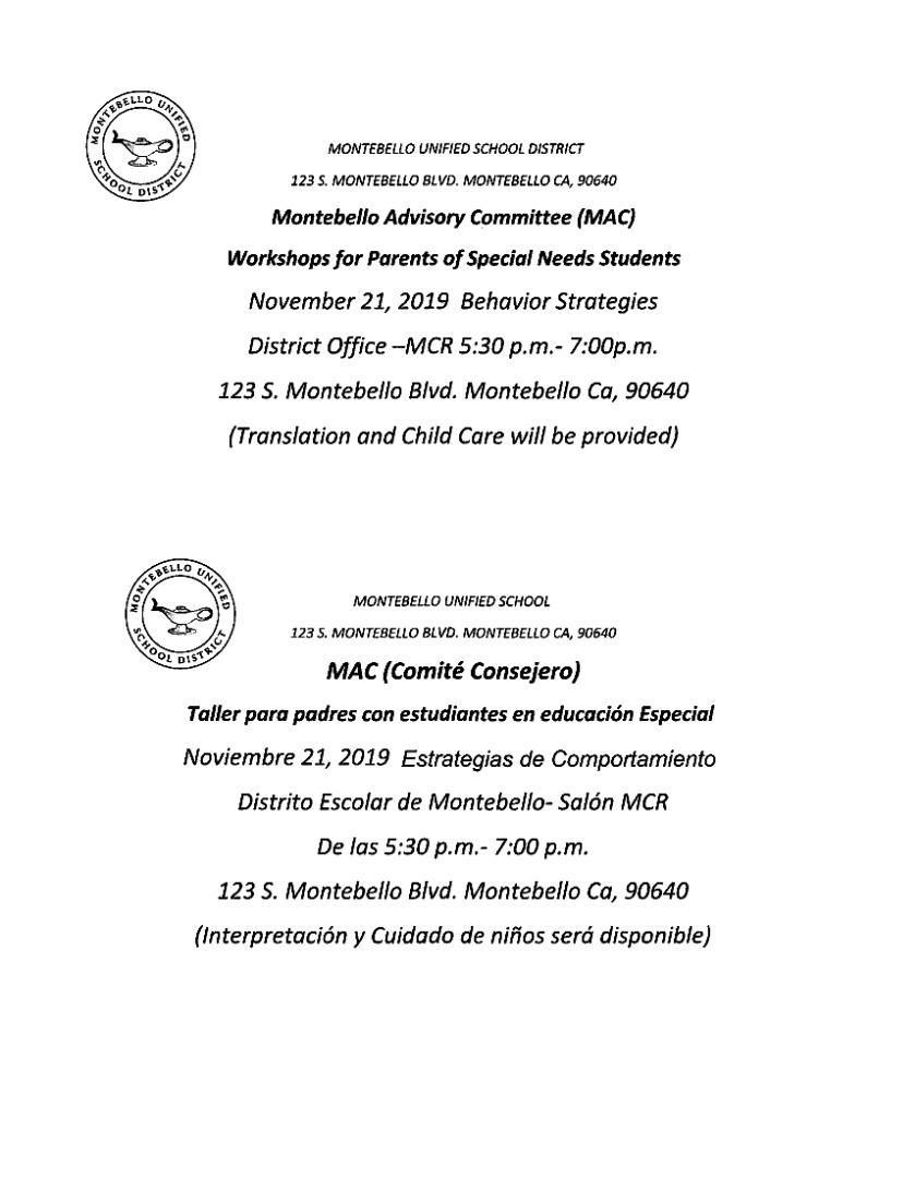 workshop for parents of special needs students