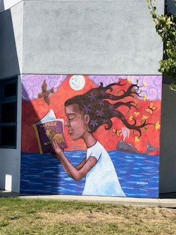 Mural on exterior wall of Library Learning Commons