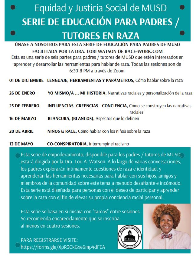 Equity and Social Justice MUSD Spanish Flyer
