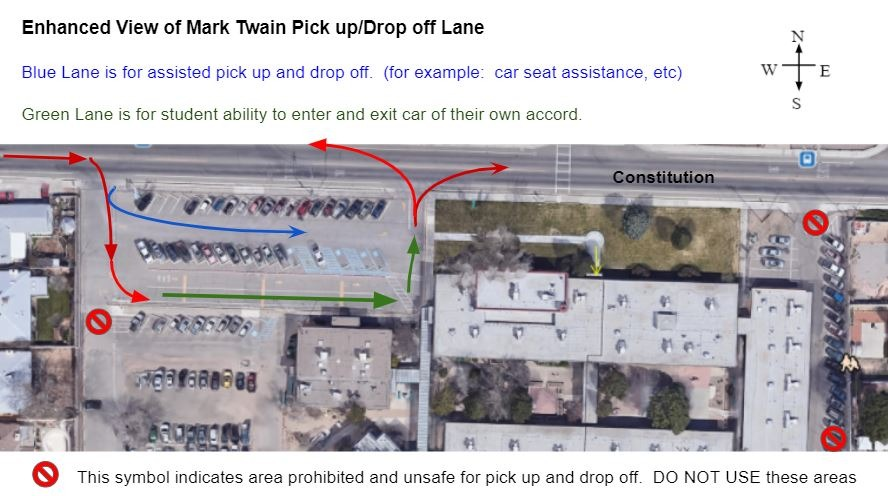 Blue and Green Lanes for drop off/pick up