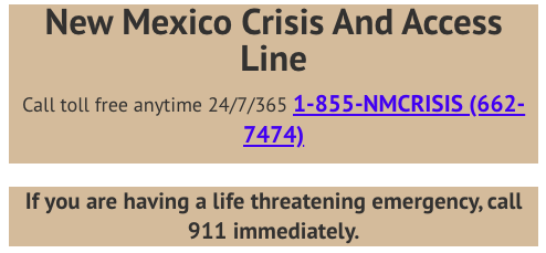 Phone Number for Crisis Hotline