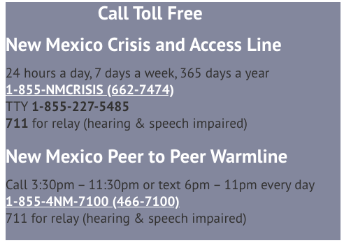 New Mexico Crisis hotline information
