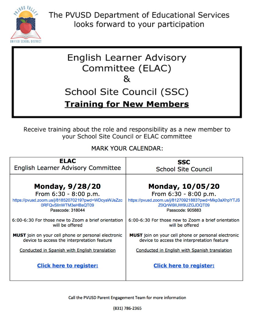 new member training flyer in English