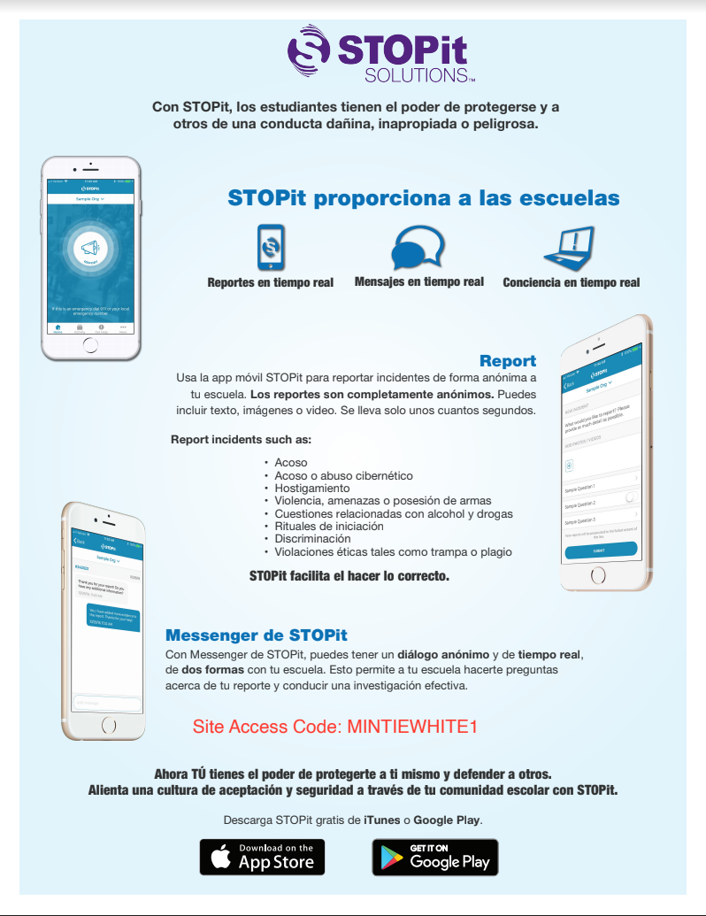 STOPit code access poster Spanish