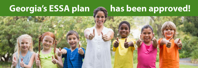 Students and Teacher giving thumbs up for Georgia ESSA plan