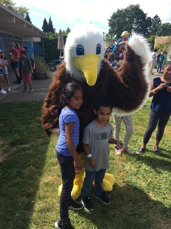 principal knox dressed as our Eagle mascot