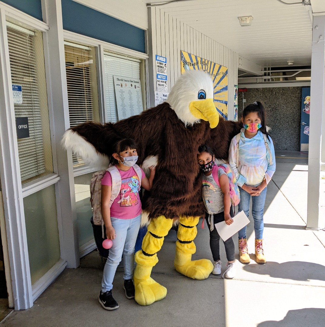 Liberty Eagle with Students
