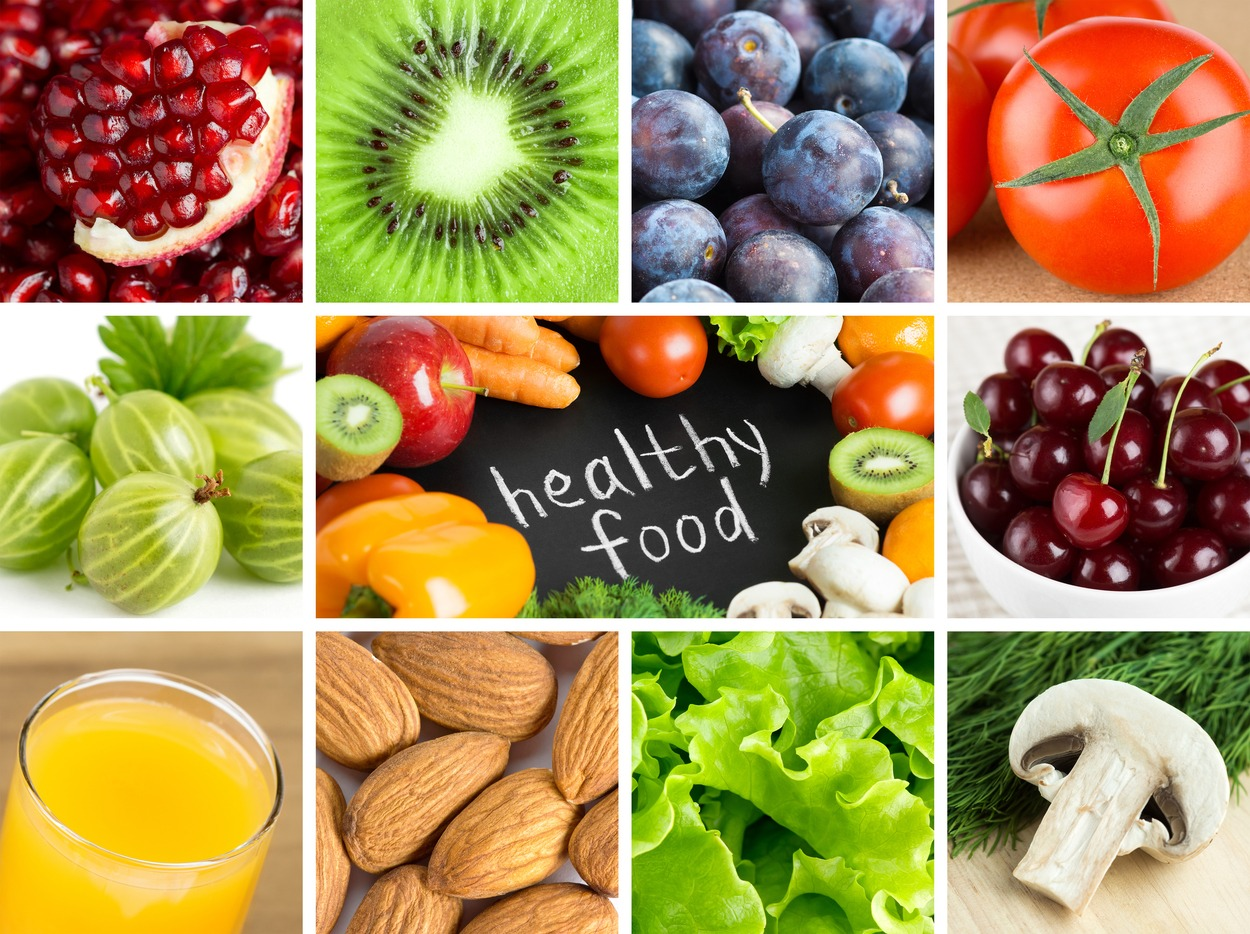 fresh fruit and healthy food