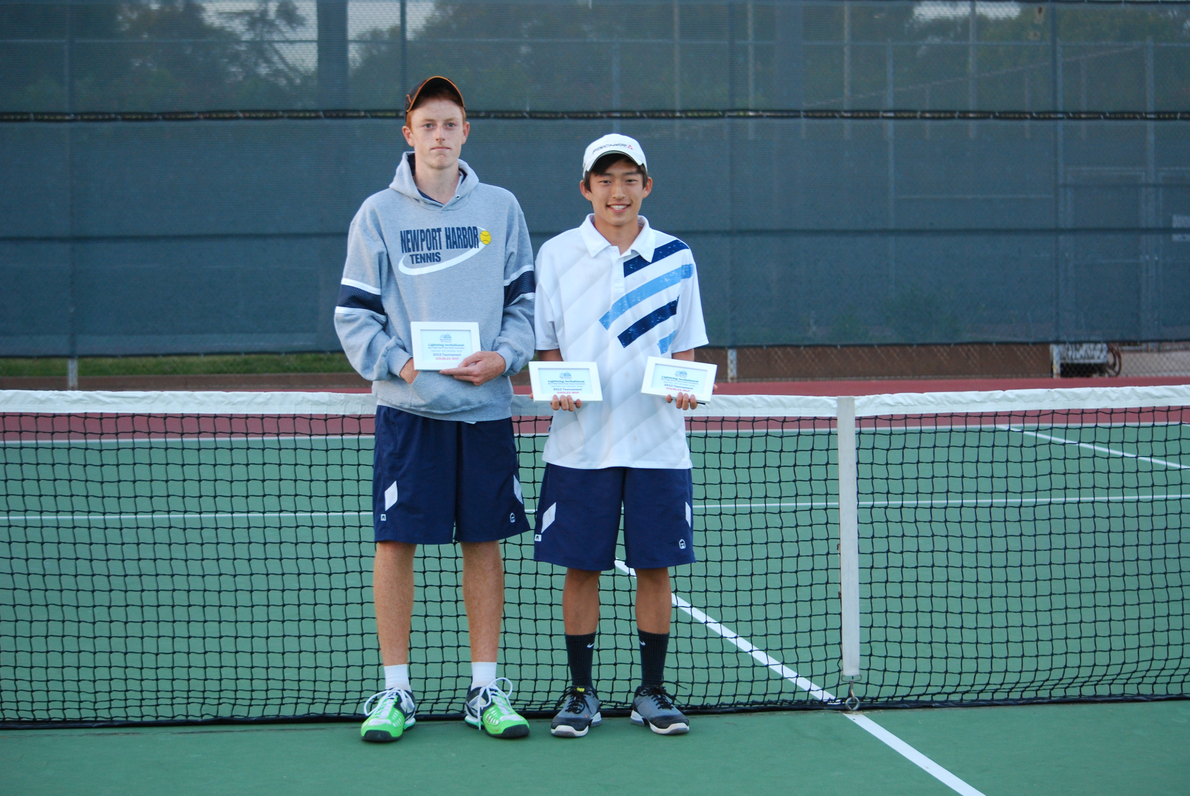 Sage Hill Tourney Doubles MVP's Reese Stalder and Christian Lee, and Singles MVP Christian Lee