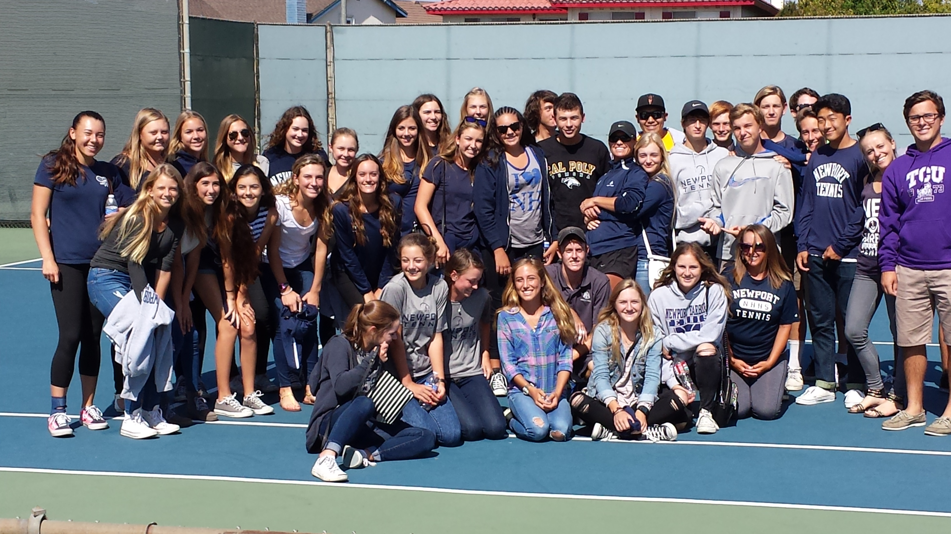 NHHS Tennis Supports Reese Stalder during his CIF Tournament Play: GO Sailors!