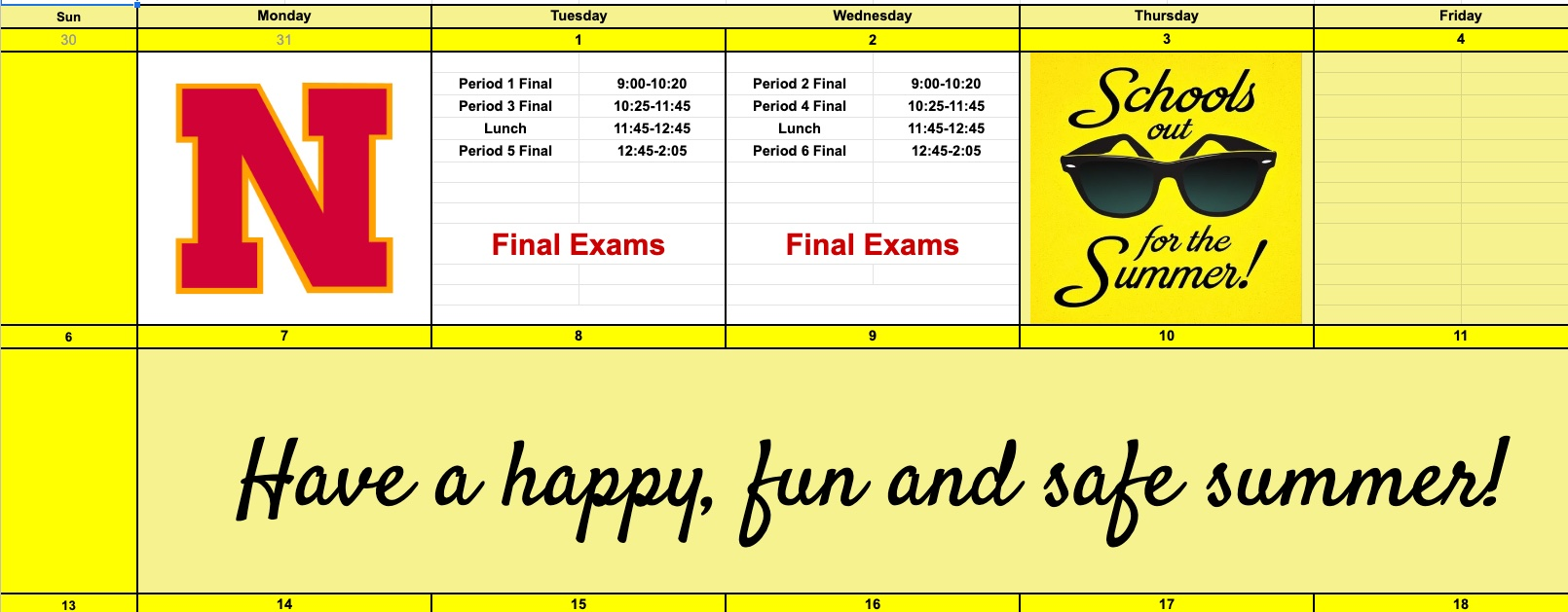 May 24 -28 Schedule