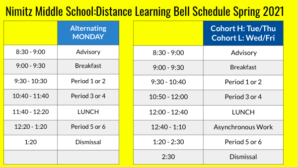 Remote learning bell schedule