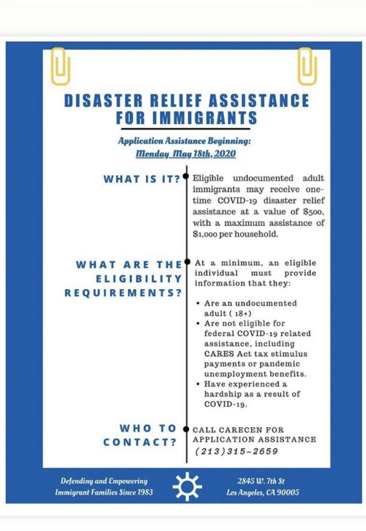 Disaster Relief Assistance For Immigrants Flyer English