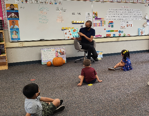 librarian reading a story