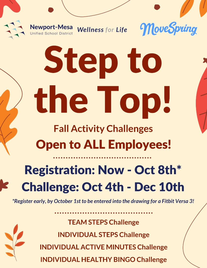 Step to the Top Fall Activity Challenges Announcement Flyer
