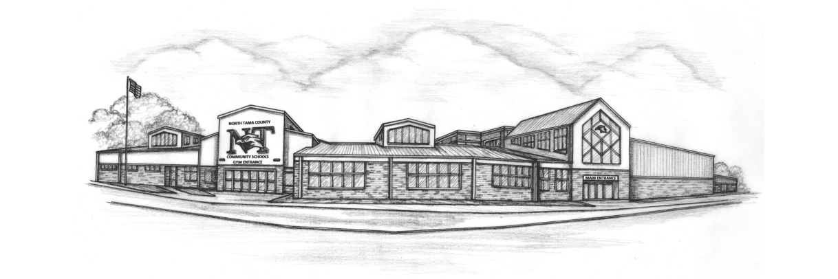 etching of the North Tama school building