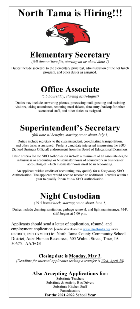 Posting for Open Positions, 2021-2022 School Year