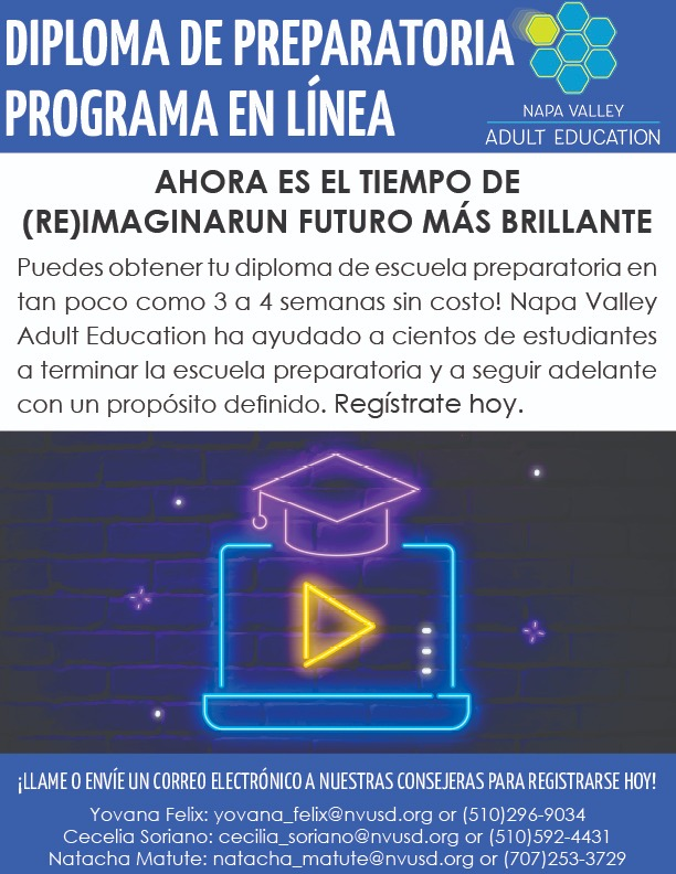 Online High School Diploma Flyer in Spanish