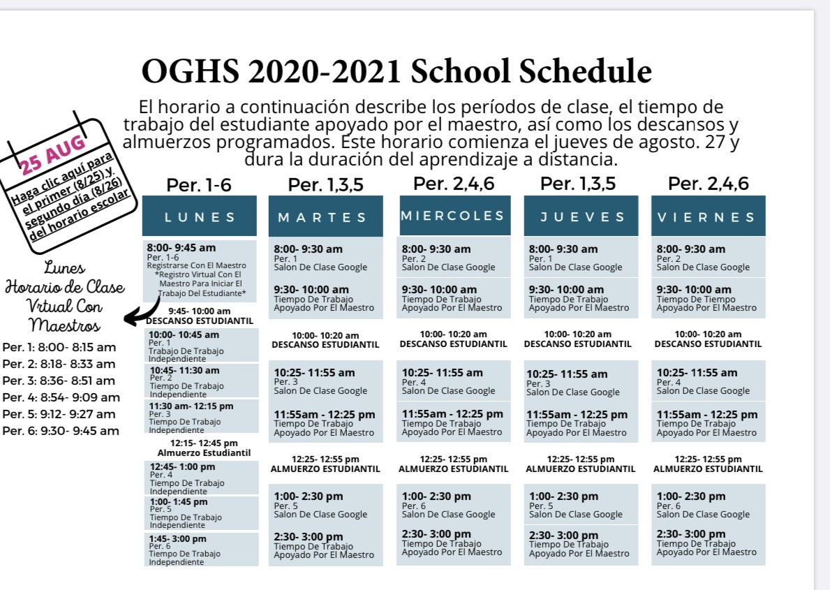 OG Distance Learning Schedule in Spanish