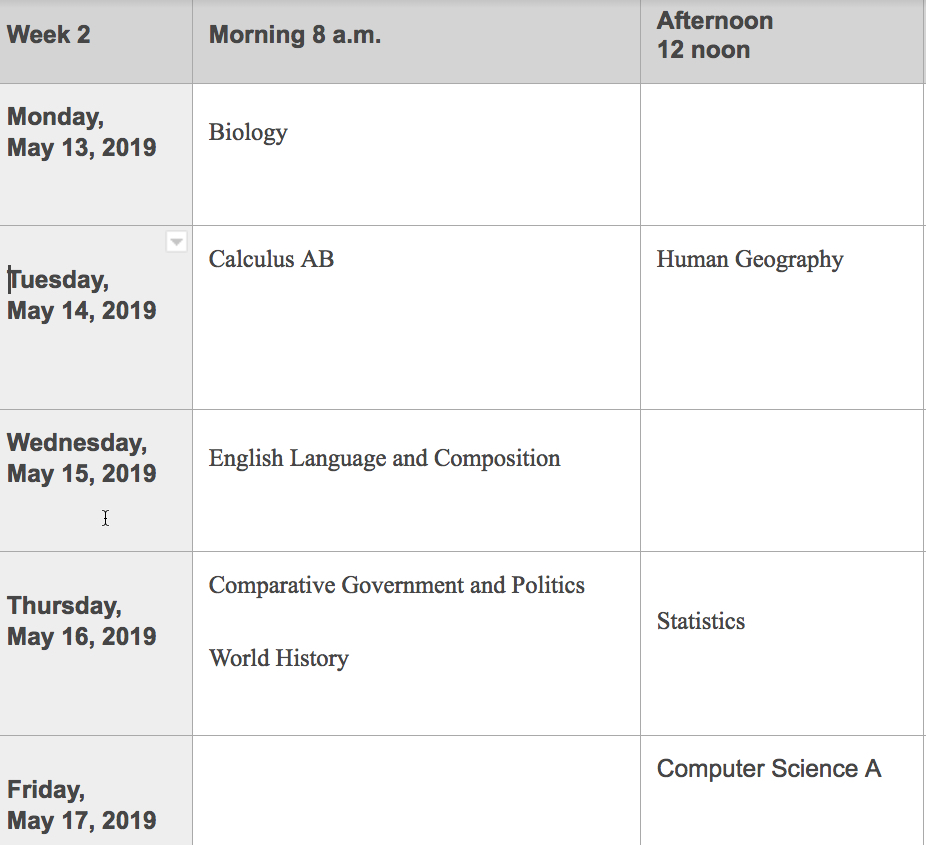 AP Testing Schedule 2019 page 2