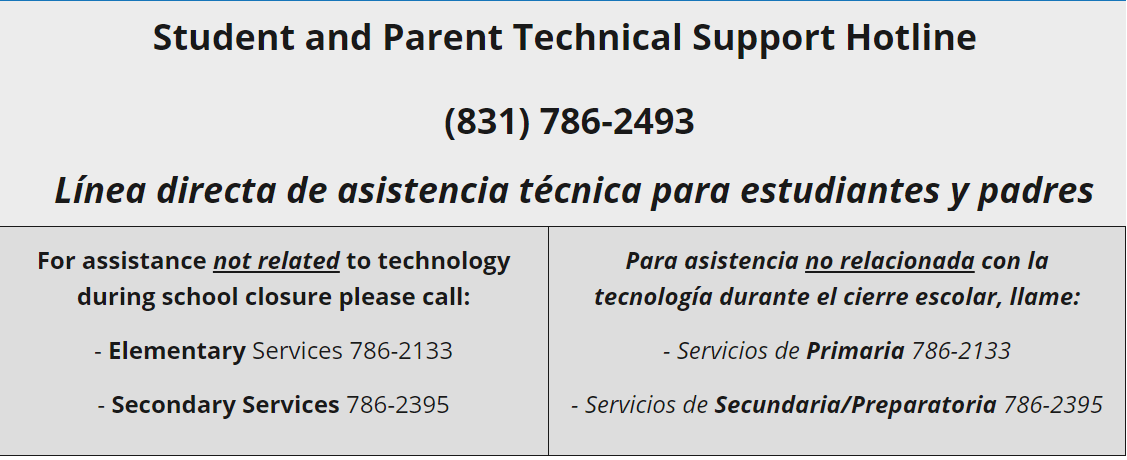 Student and Parent Tech Support Hotline flyer with information