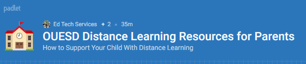 OUESD Distance Learning Resources for Parents