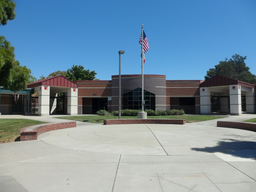 O'Hara Park Middle School main building with flagpole