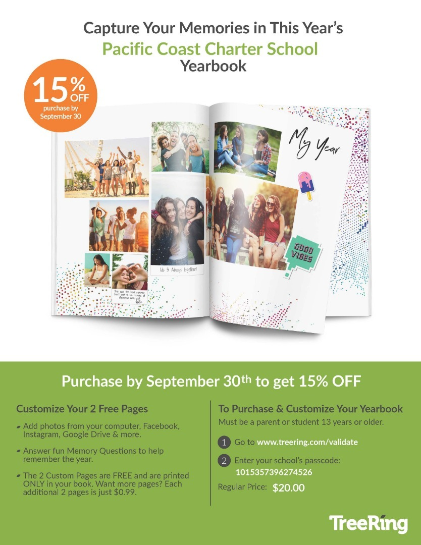 PCCS Yearbook 15% off if purchased by September 30