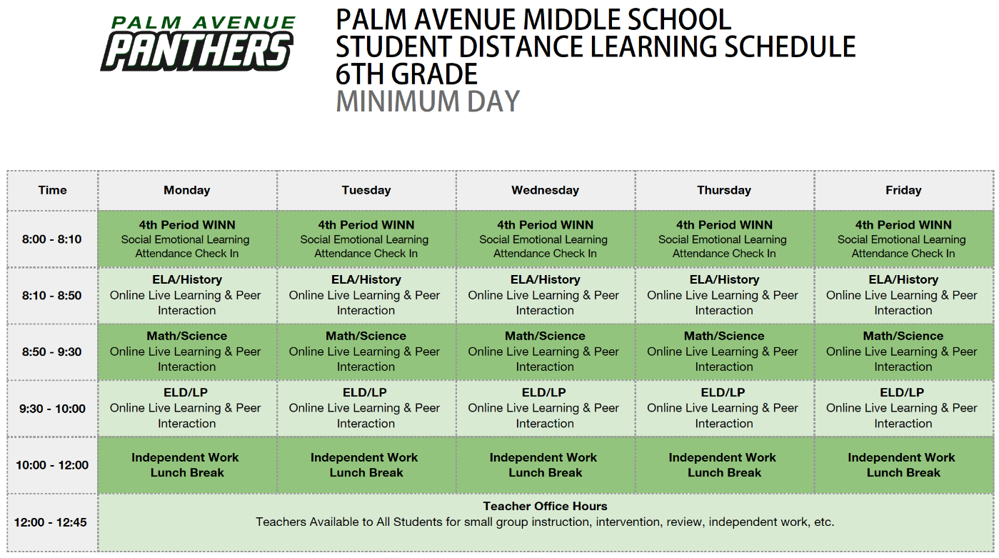 6th Grade Minimum Day Schedule