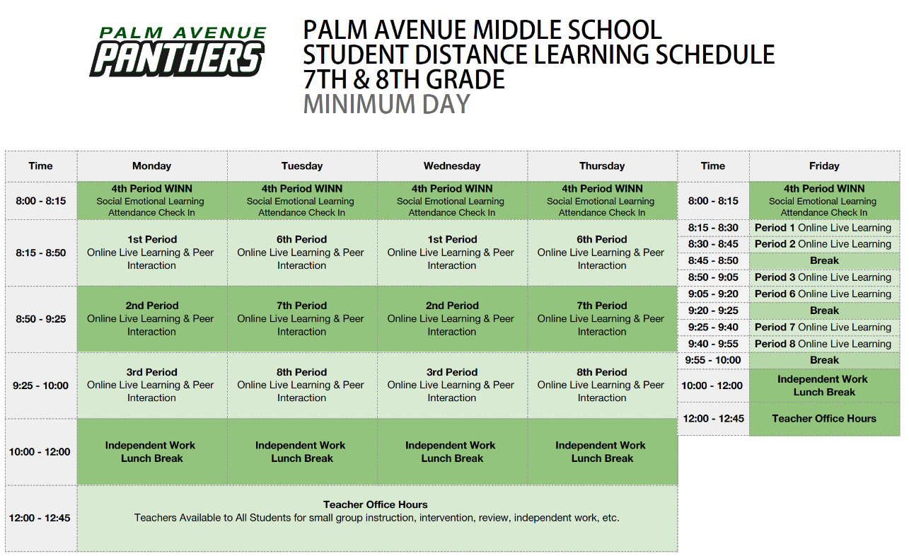 7th/8th Grade Minimum Day Schedule