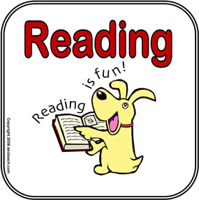 dog with book: reading is fun