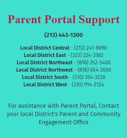 parent portal support telephone numbers