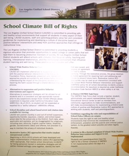 The Distirct adopted the School Climate Bill of Rights in May 2013.