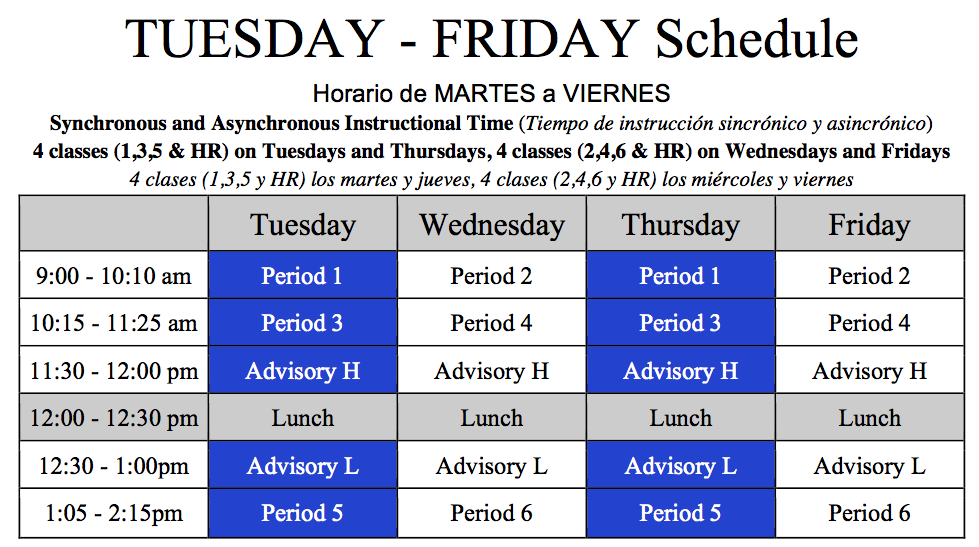 Tuesday-Friday Class Schedule