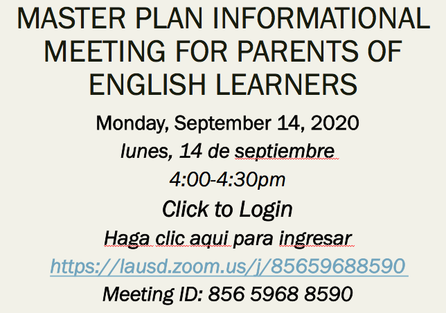 Master Plan Information Meeting for parents of English Learners