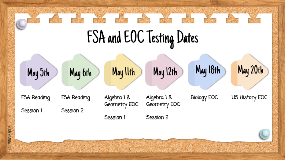 FSA and EOC Testing Dates