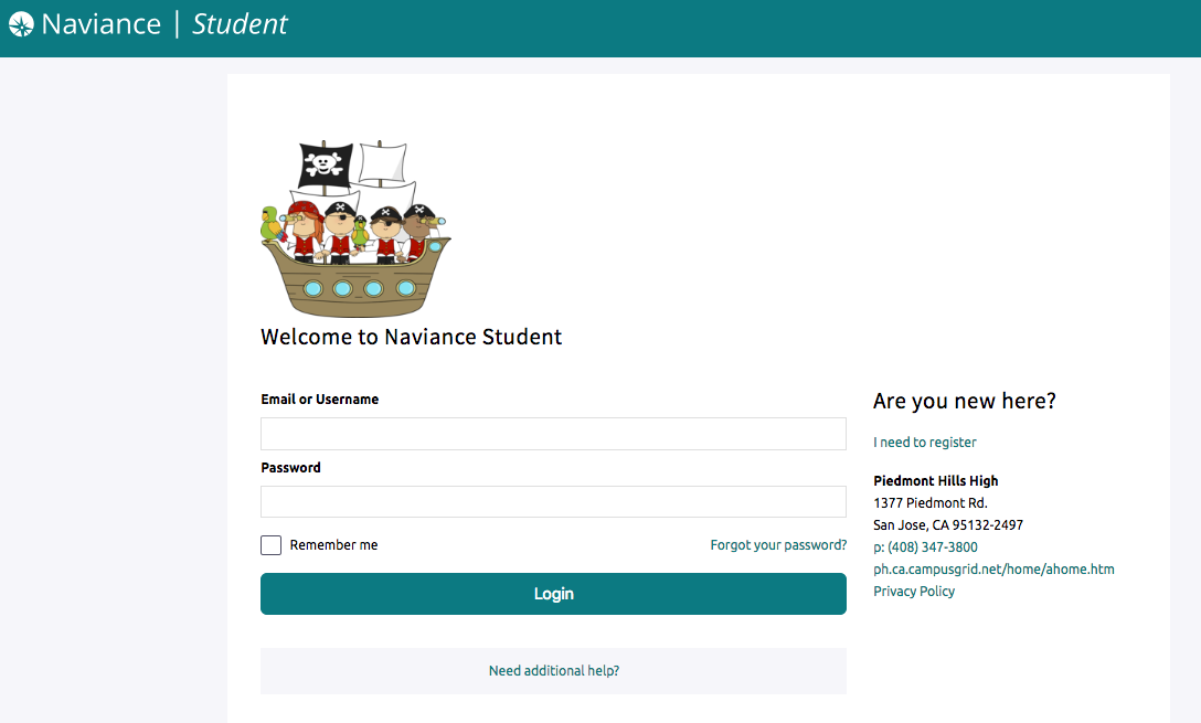 Naviance Log-In Screen