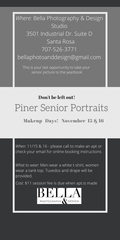 Bella Photography & Design Studio: Piner Senior Portraits Makeup Days! November  15 & 16