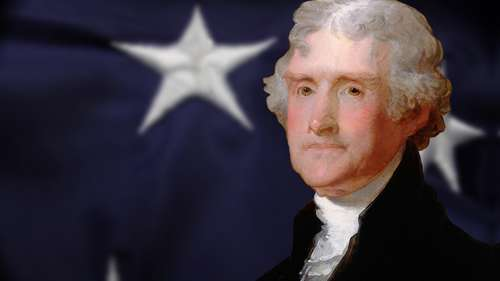 thomas jefferson and us flag
