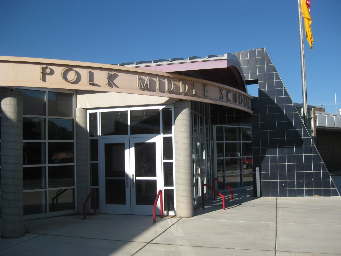front of Polk Middle School