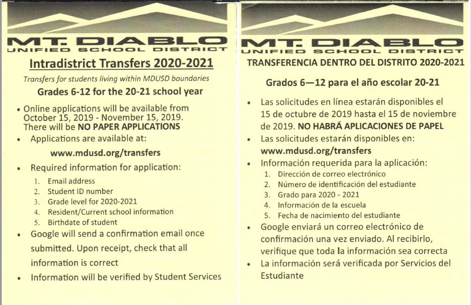 Flyer for Intradistrict Transfers